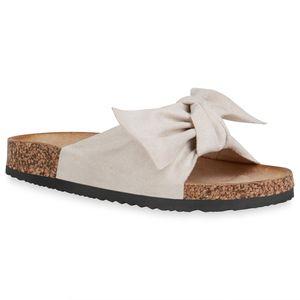 Mytrendshoe Damen Sandalen Pantoletten Schleifen Flache Schuhe 834899, Farbe: Creme, Größe: 39