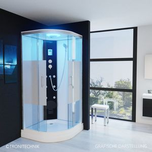 TroniTechnik Duschtempel Duschkabine Dusche Glasdusche Eckdusche Komplettdusche S100XD1HG02 100x100