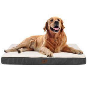 Juskys Hundebett Milow orthopädisch - 92x69 cm - Hundekissen flauschig & formstabil - Bezug abnehmbar & waschbar – Hundematratze mittlere Hunde - Grau