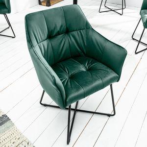 Exklusiver Design Stuhl LOFT Samt grün mit Armlehne Esszimmerstuhl Samtstoff Armlehnenstuhl