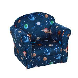 HOMCOM Kindersessel, Kinderzimmer Sofa, Kindersofa Mini-Sofa-Sessel für 3-6 Jahre,Polyester, Blau, 50 x 39 x 44 cm