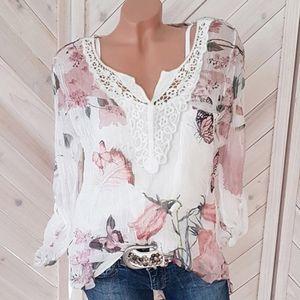 Langarm-Damen-Bluse mit Chiffon-V-Ausschnitt und langem Knopf WHN90809922 Größe:M,Farbe:Weiß
