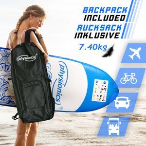 Physionics® SUP Board - 305/320/366 cm, Aufblasbar, Handpumpe mit Druckmesser, Rucksack - Paddling Board, Surfboard (305 cm, Poseidon blau)