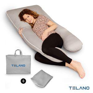 Telano Schwangerschaftskissen Premium XXL - 100% Baumwolle Edition - Stillkissen Grau Komfortkissen Seitenlagerungskissen Baby - Zweiter Bezug und  Aufbewahrungstasche Enthalten