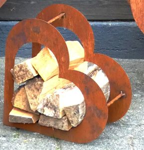 Herz aus Metall - Holz-Regal - Edel-Rost - Garten Terrasse - Deko - S
