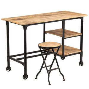 vidaXL Schreibtisch mit Klapphocker Mangoholz Massiv 115x50x76 cm