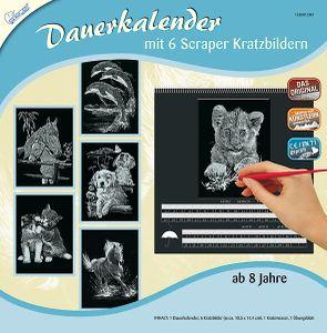 "Kratzbilder ""Dauerkalender Tiere"", Silber, 6 Motive, 10,5 x 14,5 cm"