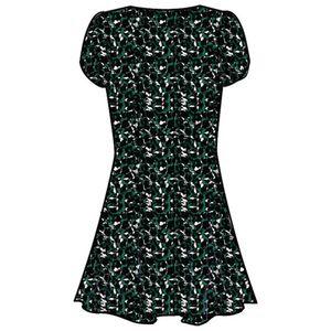 Pepe Jeans X Dua Lipa Emina Skater-Kleid angesagtes Damen Sommer-Kleid mit Puffärmeln Grün, Größe:XL