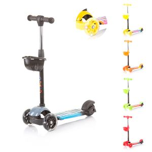 Chipolino Kinderroller Disco, mit 3 Rädern, Höhe einstellbar, Bremse, Licht Korb, Farbe:schwarz