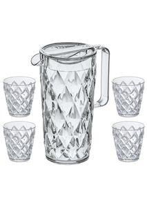 KOZIOL Karaffe mit 4 Gläsern 5 tlg. SET Kanne Becher Kunststoff Crystal