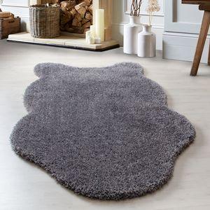 Schaffell Lammfell-Teppich Kunstfell Shaggy Teppich Flauschig Soft Weich, Farbe:Grau, Grösse:100x150 cm