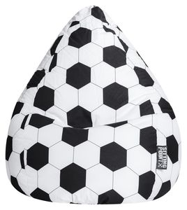 Sitzsack BeanBag L Fußball  90 x 70 cm Schwarz Bbl