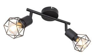 Deckenleuchte, Käfig-Design, Spots verstellbar, schwarz, L 22 cm, XARA I