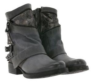 ARIZONA Echtleder Biker-Boots super angesagte Damen Herbst-Schuhe mit Nieten Grau, Größe:35