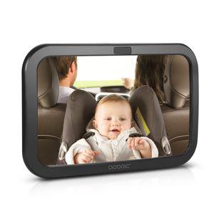 ADORIC Rücksitzspiegel für Babys, Autospiegel Baby, Babysitz universeller Passform, doppelriemen mit 360° schwenkbar, 30 x 19 CM