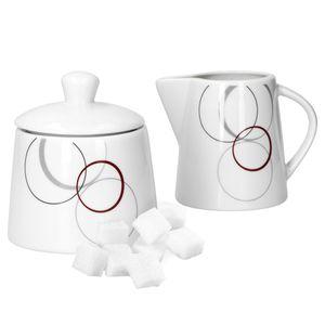 2tlg. Set Zuckerdose 28cl & Milchkännchen 23cl Palazzo mit Nachbildung-Kreisen in grau und dunkelrot