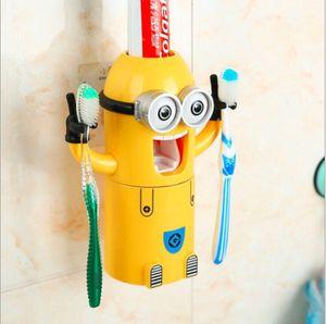 Kinder Cartoon Zahnbürste Halter Automatische Zahnpasta Spender Squeezer Hände Frei Wandmontiert