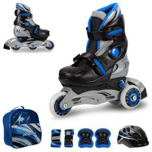 Kinder Inliner verstellbar Jungen Inline Skates Set Triskates mit Schutzset Helm Rucksack Rollschuhe blau, Größe:S (30-33)