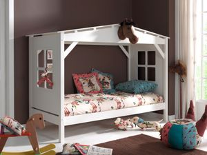 Vipack Spielbett Pino als Haus, Liegefläche 90 x 200 cm - Kiefer teilmassiv weiß lackiert, Maße: 217 cm x 110 cm x 161 cm; PICB9014