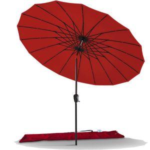 VOUNOT Sonnenschirm für Balkon, 270 cm, Shanghai Balkonschirm mit Schutzhülle, Rot