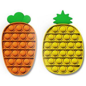 2X Push Pop It Pop Bubble Spielzeug,Verwendet für Autismus, Stress Abzubauen Braucht zappeln Spielzeug(Karotte + Ananas)
