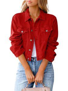 Damen kurze Jeansjacke kurzes schmales Oberteil,Farbe: rot,Größe:L
