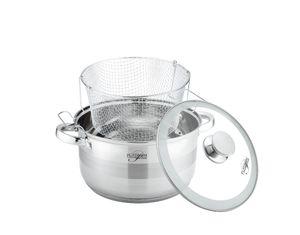 Platinum Edelstahl Kochtopf mit Glasdeckel und Frittierkorb 6,6 l
