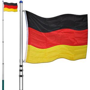 Fahnenmast Aluminium Teleskop 630cm Bodenhülse 60cm inkl. Deutschlandfahne Flaggenmast Mast Flagge Alu