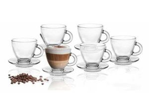 6 Espresso Gläser 85ml mit 6 Unterteller Espressotassen Tasse 12tlg Espressoglas