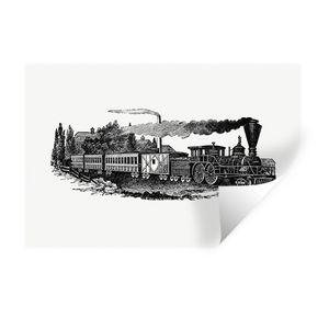 Wandaufkleber - Vintage - Zug - Dampfzug - 90x60 cm - Repositionierbar
