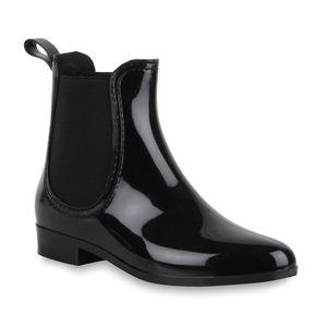 Mytrendshoe Damen Stiefeletten Gummistiefel Chelsea Boots Schuhe 70510, Farbe: Schwarz, Größe: 41