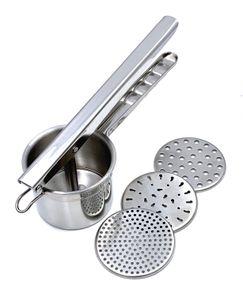 Kartoffelpresse / Spätzlepresse mit 3 Lochscheiben aus Edelstahl | rostfrei | auch perfekt geeignet für die Herstellung von Fruchtsäften und Babynahrung