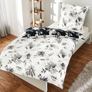 Bierbaum Bettwäsche 135x200 cm Mako Satin schwarz weiß Blumen - 100% Baumwolle