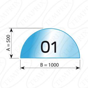 Kaminbodenplatte Transparent Form O1  500 x 1000 x 6mm - Version ECO (Tragkraft bis 550 Kg)