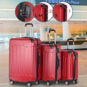 Vojagor® Koffer Trolley Set -  Rot, 3 teilig groß mittelgroß klein, ABS Kunststoff, 4 Rollen, Hartschale, TSA-Schloss - Hartschalenkoffer, Reisekoffer, Kofferset, Gepäck, Rollkoffer