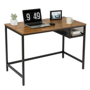 Meerveil Schreibtisch, Computertisch, Retro Arbeitstisch, Bürotisch mit einem Stauraum aus Eisengitter, 110 * 50 * 76cm