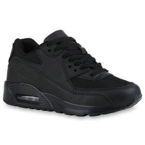 Mytrendshoe Damen Laufschuhe Fitness Sneaker Sportschuhe Schnürer 831643, Farbe: Schwarz, Größe: 38