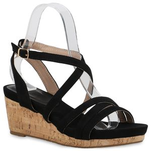 Mytrendshoe Damen Keilsandaletten Keilabsatz Sandaletten 834016, Farbe: Schwarz, Größe: 39