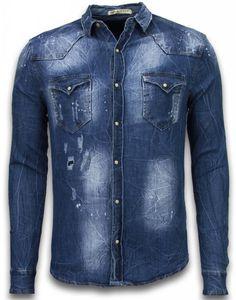 Jeanshemd - Slim Fit Long Sleeve - Vintage Look - Blau - M