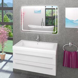 Waschtisch Waschbecken Leuchtspiegel Unterschrank City 101 100cm weiß BSP13 - MIT Spiegelheizung