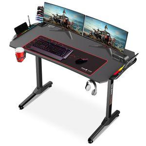 Dripex Gaming Tisch mit LED, ergonomischer  Schreibtisch mit Mauspad, Getränke-, Gamepad- und Kopfhörerhalter, Kohlefaser-Desktop