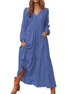 Damenknopfkleid aus Baumwolle und Leinen, lässig, langärmelig, großes Swing-Kleid,Farbe: Marineblau,Größe:XXL