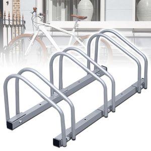 karpal Fahrradstaender, fuer 3 Fahrraeder, Boden Wandmontage Silber Mehrfachstaender Beidseitig Verwendbar, Metall 26 x 73 x 32 cm