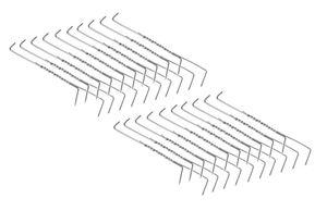 20 Stück Doppelspitz Edelstahl Räucherhaken 19,5cm/ 2mm Ø gedrillt
