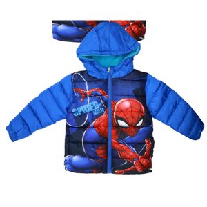 Marvel Spider-Man Kinder Winterjacke Jacke mit Kapuze Blau Jungen Gr. 98