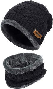 Wintermütze Strickmütze Warme Beanie Winter Mütze und Schal mit Fleecefutter für Damen und Herren