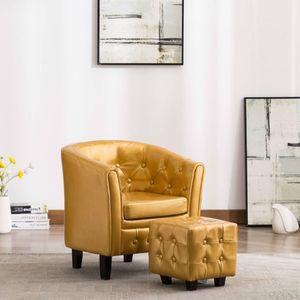 Moderne - Chesterfield-Sessel Sofa Stuhl mit Fußhocker Golden Kunstleder