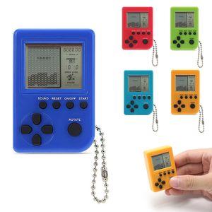 Mini tragbare Schlüsselbund Anhänger Tetris Spielekonsole Retro Classic Gaming Machines-Blau