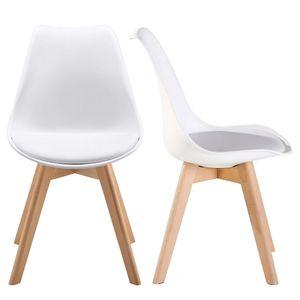 Raburg 2er Set Esszimmerstuhl NILO in SEIDEN-WEIß - gepolsterte Küchenstühle aus mattem Kunststoff + Gestell in Buche, skandinavisches Design, dauerhaft belastbar bis 120 kg