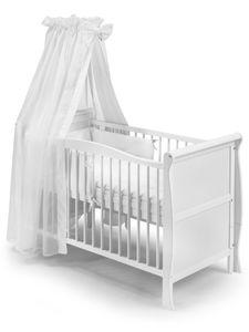KOKO Babybett Gitterbett Kinderbett LILLY Komplett-Set 120x60 cm weiss mit Chiffonhimmel